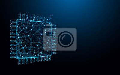 Papiers peints Processor Chip forme des lignes, des triangles et des particules. Vecteur d'illustration