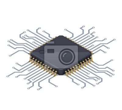 Papiers peints Processor or electronic chip on circuit board with conductive tracks and soft realistic shadow. Isometric vector illustration