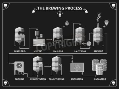 Papiers peints Processus de brassage de la bière. Vector infographie bière production infographique. Ordre de mashing lautering illustration du produit