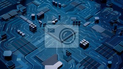 Papiers peints Puce d'unité centrale de traitement sur la carte mère - résumé Rendu 3D d'une puce d'ordinateur de processeur sur une carte de circuit imprimé avec des micropuces et d'autres pièces d'ordinateur