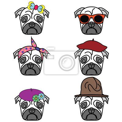 Pugs set of icons