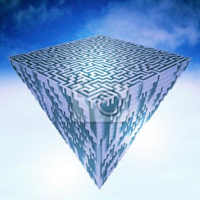 pyramidal morceau vol de la terre comme structure de labyrinthe