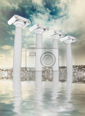 quatre anciens colonne ionienne grecque afload