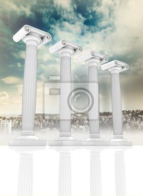 quatre anciens colonne ionienne grecque dans la rangée