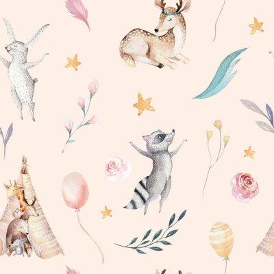 Papiers peints Raccon mignon de bébé de famille, cerf et lapin. girafe de pépinière animale et ours isolé illustration. Aquarelle boho raccon dessin pépinière modèle sans couture. Fond d'enfants, impression de crèch