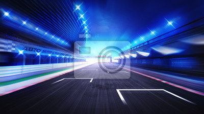Racecourse, finir, droit, route, soir, flou, ciel