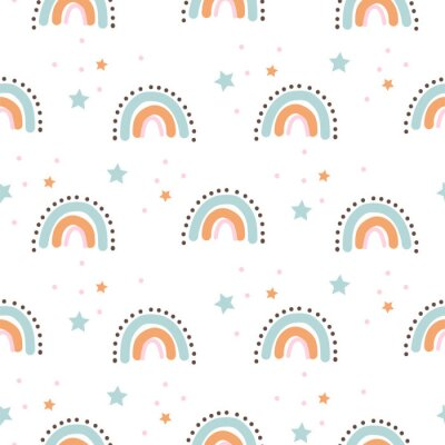 Rainbow cute shapes baby theme seamless pattern. Scallop archs repeat background for wrap, textile and print kids design.