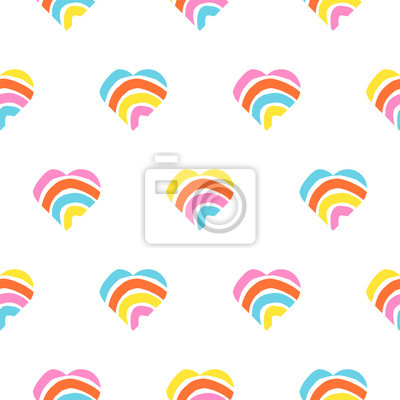 Rainbow striped heart seamless pattern. Rough lines rainbow repeating background vector texture.