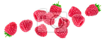 Papiers peints Raspberry isolated on white background, falling raspberries, collection