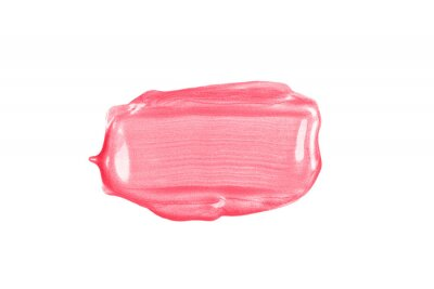 Papiers peints Rectangular pink glossy brush stroke or smear cut out on white background.