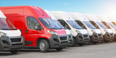 Papiers peints Red delivery van in a row of white vans. Best express delivery and shipemt service concept.