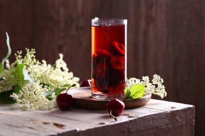 refreshing lemonade cherry juice and fresh berries