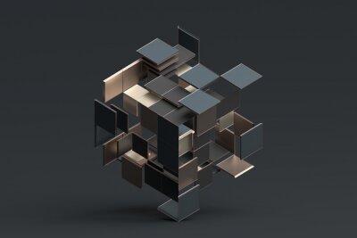 Papiers peints Rendu 3d abstrait de formes géométriques.