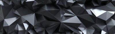 Papiers peints Rendu 3D, abstrait fond de cristal noir, texture à facettes, panorama macro, large panoramique papier peint polygonal