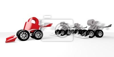 Rendu 3D d'un signe sûr et isolé dans une course de sport automobile
