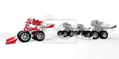 Rendu 3d d'un symbole de service supérieure à une course de sport automobile