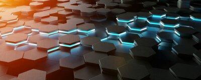 Papiers peints Rendu 3D du motif de fond noir hexagones bleu et orange