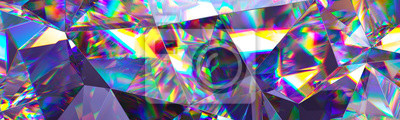 Papiers peints Rendu 3D, fond cristal abstrait, texture irisée, panorama macro, gemme à facettes, large fond d'écran polygonal panoramique