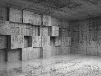 Papiers peints Résumé 3d intérieur en béton avec décoration cubes sur le mur