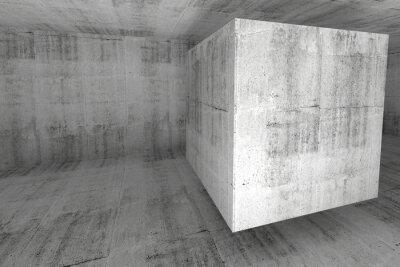 Papiers peints Résumé blanc chambre en béton 3d avec le cube