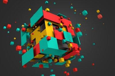 Papiers peints Résumé de rendu 3D de cubes volants.