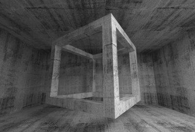 Papiers peints Résumé gris foncé chambre béton intérieur. 3d cube volant