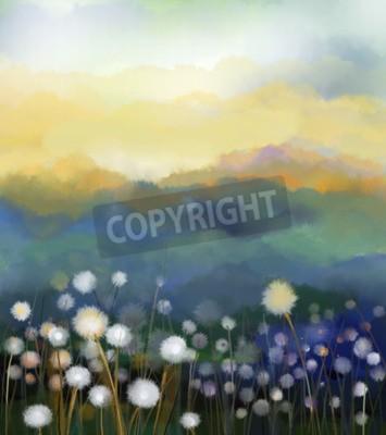 Papiers peints Résumé, huile, peinture, blanc, fleurs, champ, doux, Peintures à l'huile blanc fleur de pissenlit dans les prés. Nature florale de ressort floral avec la colline bleu - vert dans l 'arrière - plan.