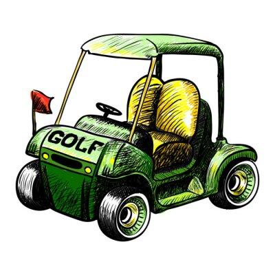 Papiers peints Résumé isolé panier vecteur de golf. Ligne vecteur de couleur croquis