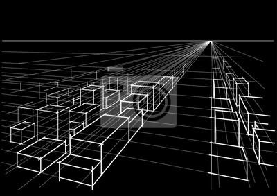 Papiers Peints Résumé, Linéaire, Architectural, Croquis, Ville, Paysage,  Perspective,
