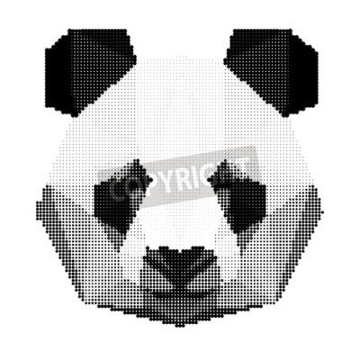 Papiers peints Résumé, monochrome, panda, ours, portrait, isolé, blanc, fond, utilisation, conception, carte, invitation, affiche, bannière, placard