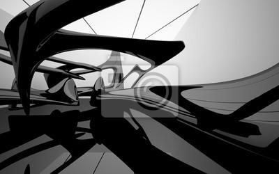 Papiers peints Résumé noir brillant et sculpture en verre. Illustration 3D. Rendu 3D.