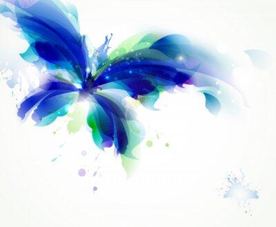 Papiers peints Résumé papillon avec des taches bleu et cyan