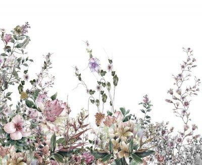 Papiers peints Résumé peinture aquarelle fleurs. Printemps fleurs multicolores