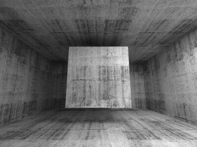 Papiers peints Résumé salle grise intérieur. 3d fond avec le cube volant