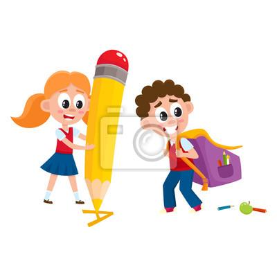 ffb06a5648 Retour au concept de lécole - garçon portant sac à dos, fille papier ...