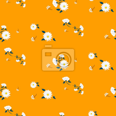 Retro daisy simple yellow florals seamless vector pattern.