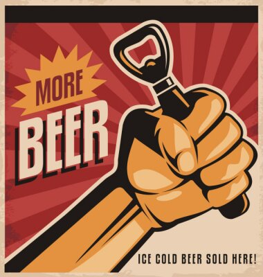 Papiers peints rétro de bière conception de l'affiche avec la révolution poing