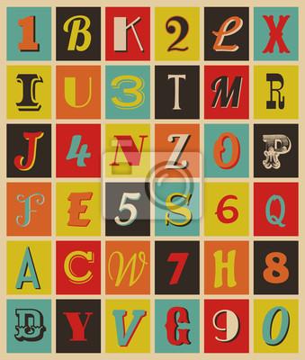 Rétro lettres et des chiffres