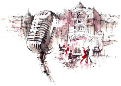 Papiers peints retro microphone