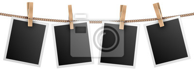 Papiers peints Retro photo frames hanging on rope isolated on white background vector illustration. Photo picture for album, empt photograph