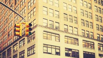 Papiers peints Rétro photo stylisée de feux de circulation à New York, faible profondeur de champ.