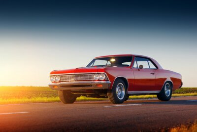Papiers peints Retro, rouges, voiture, rester, asphalte, route, Coucher soleil