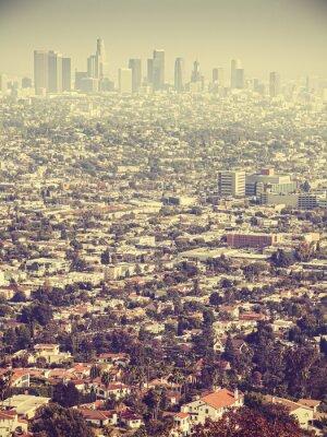 Papiers peints Retro, stylisé, aérien, vue, Los, Angeles, vu, smog, USA