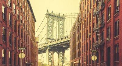 Papiers peints Rétro, stylisé, Manhattan, pont, vu, Dumbo, nouveau, York.
