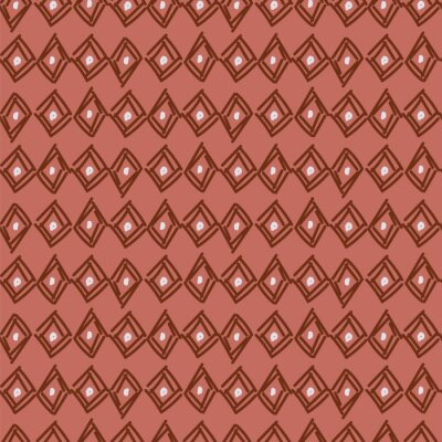 Rhombus hand drawn abstract shapes seamless pattern. Rouge brown repeat background for wrap, textile and print design.