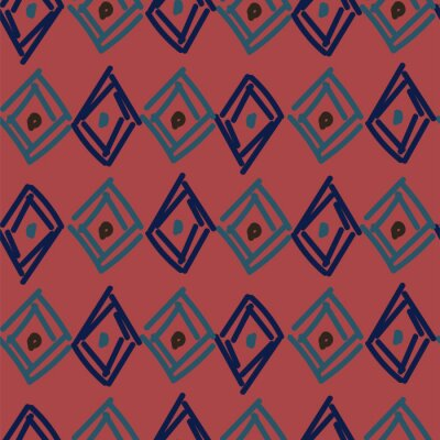 Rhombuses hand drawn abstract irregular shapes seamless pattern. Blue brown repeat background for wrap, textile and print design.