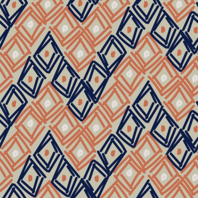 Rhombuses hand drawn abstract shapes seamless pattern. Blue brown repeat background for wrap, textile and print design.
