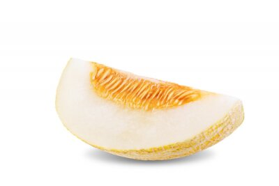 Ripe sweet melon fruit on a white isolated background