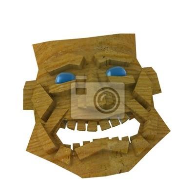 Rire Masque en bois