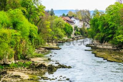 Papiers peints Rivière Aar dans la ville de Brugg en Suisse